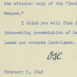 Letter : 1945 February 5
