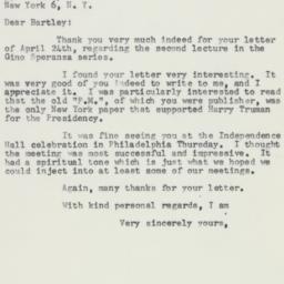 Letter : 1958 April 28