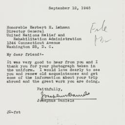 Letter : 1945 September 12