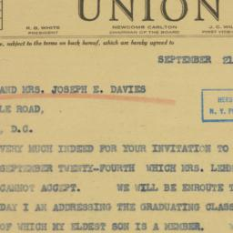 Telegram : 1942 September 21