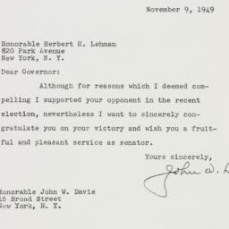 Letter : 1949 November 9