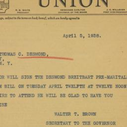 Telegram: 1938 April 5