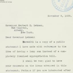 Letter : 1939 November 9