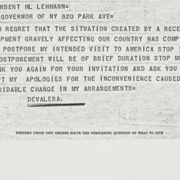 Telegram : 1939 April 29