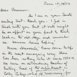 Letter : 1954 June 15