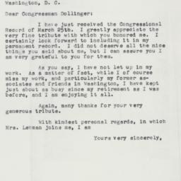 Letter : 1958 April 2