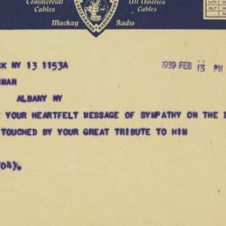 Telegram : 1939 February 13