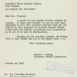 Letter : 1950 October 26
