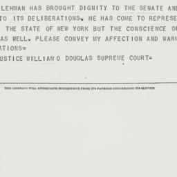 Telegram : 1954 December 13