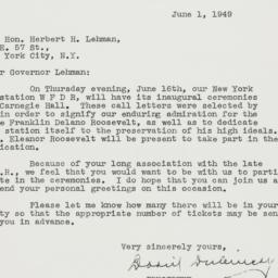 Letter : 1949 June 1