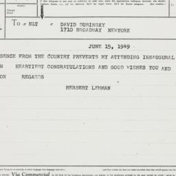 Telegram : 1949 June 15