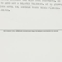 Telegram : 1962 February 23
