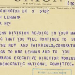 Telegram : 1959 November 9