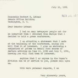 Letter : 1951 July 11