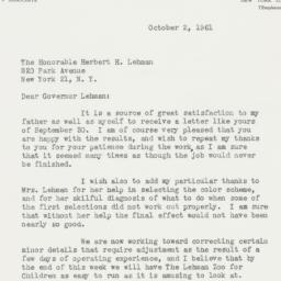 Letter: 1961 October 2