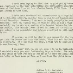Letter : 1952 March 10