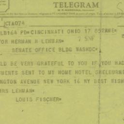 Telegram : 1955 March 17
