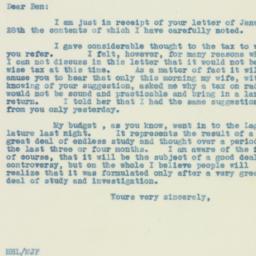 Letter : 1933 January 31