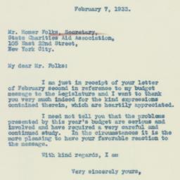 Letter: 1933 February 7