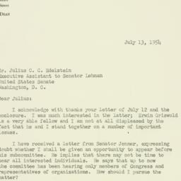 Letter : 1954 July 13