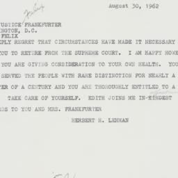 Telegram: 1962 August 30
