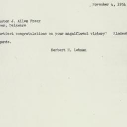 Letter : 1954 November 4