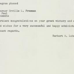 Telegram : 1956 November 8