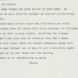Letter : 1960 June 21