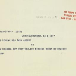 Telegram : 1962 May 2