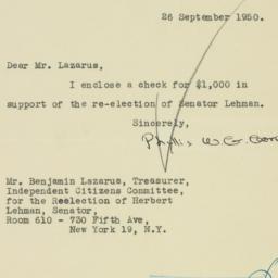 Letter : 1950 September 26
