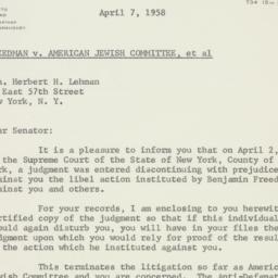 Letter : 1958 April 7