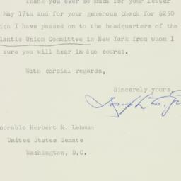 Telegram : 1952 May 23