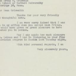 Letter : 1954 May 27