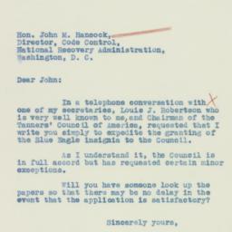 Letter : 1933 August 11
