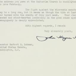 Letter : 1954 March 18