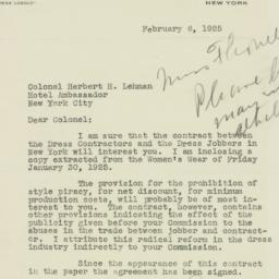 Letter: 1925 February 6