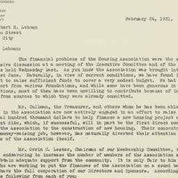 Letter : 1931 February 24