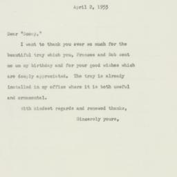 Letter : 1953 April 2