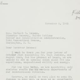 Letter : 1945 November 9