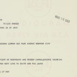 Telegram: 1963 March 26