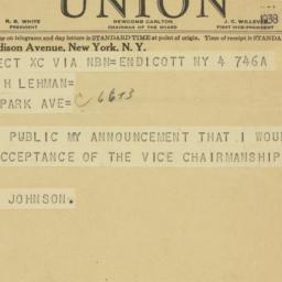Telegram : 1938 November 4