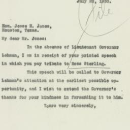 Letter : 1930 July 22
