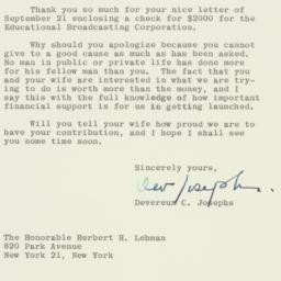 Letter : 1962 September 27