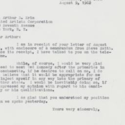 Letter : 1962 August 9