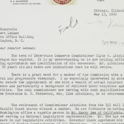 Letter : 1950 May 13