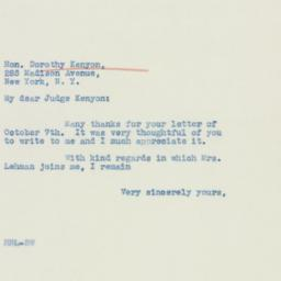 Letter : 1940 October 9