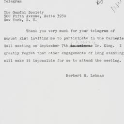 Telegram : 1962 August 23