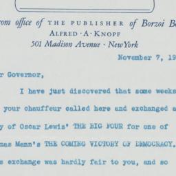Letter : 1938 November 7