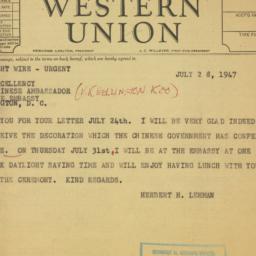 Telegram : 1947 July 28