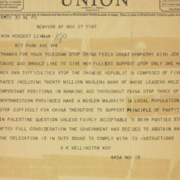 Telegram : 1947 November 27